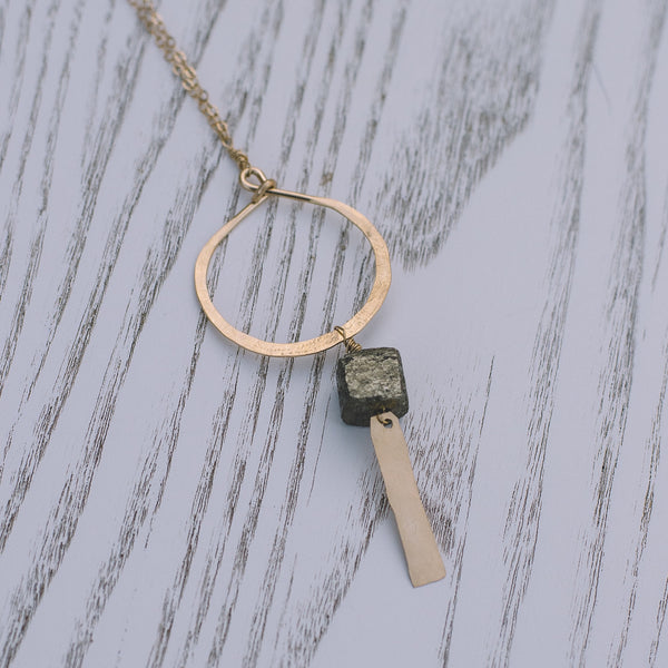 Boho Pyrite Hoop Long Necklace - Lux Reve