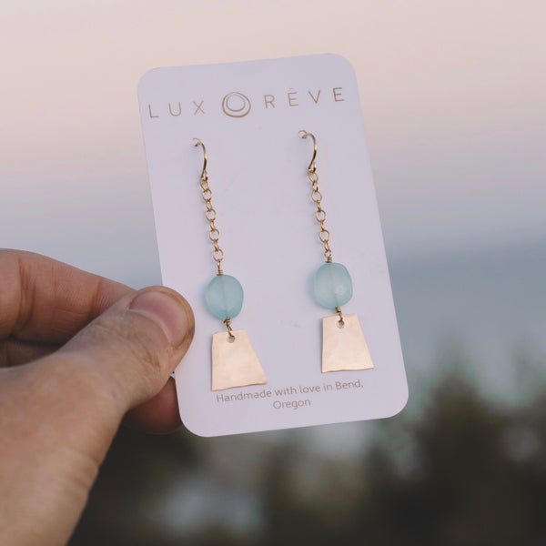 Teal Chalcedony Dangle Earrings - Lux Reve