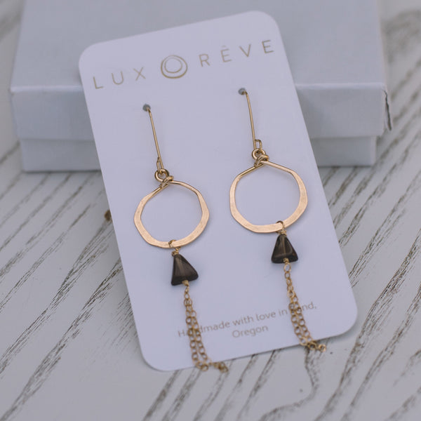 Mini Smoky Quartz Hoop Dangles - Lux Reve