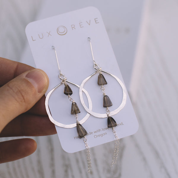 Smoky Quartz Hoop Earrings - Lux Reve