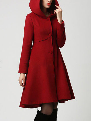 Buttoned Elegant A-Line Long Sleeve Coat