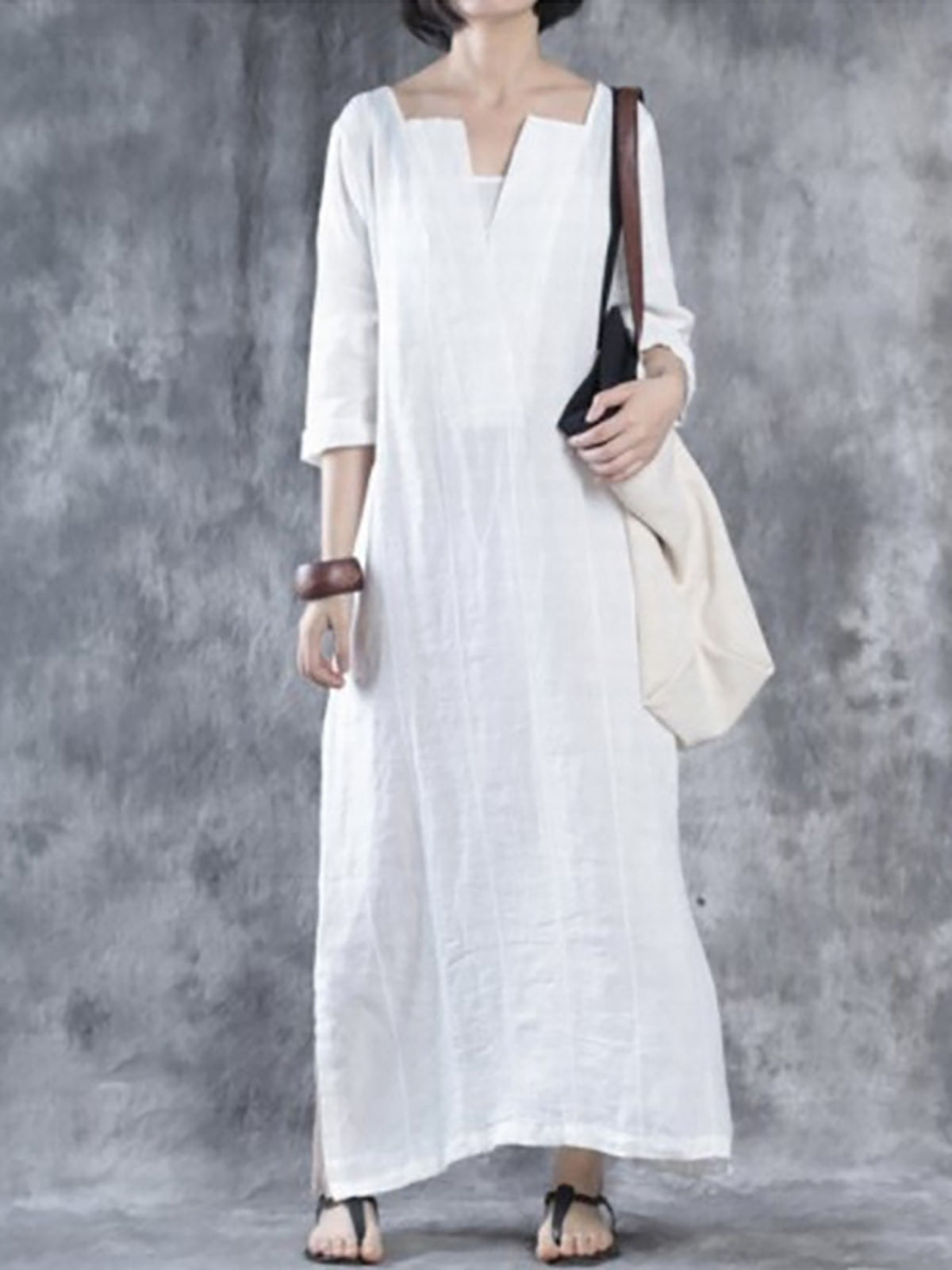 Casual V Neck Shift Casual Half Sleeve Dress