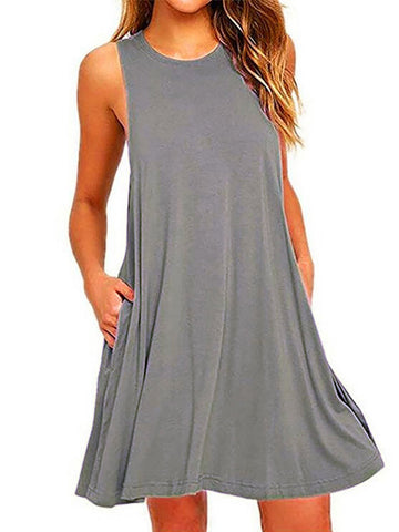Crew Neck Sleeveless A-line Casual Dress