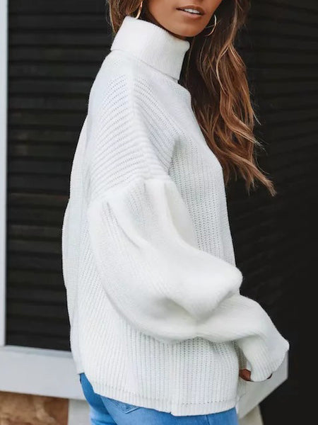 Solid color sweater with stand-up collar and lantern sleeves