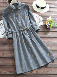 A-Line Long Sleeve Sweet Dress