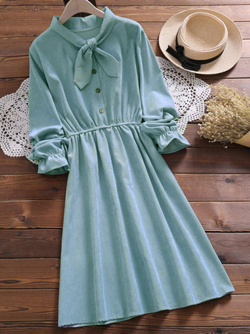 Sweet Bow Neck Long Sleeve Dress