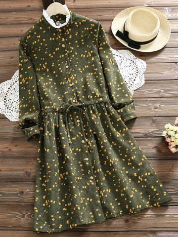 Green Ruffle Collar Long Sleeve A-Line Floral Dress
