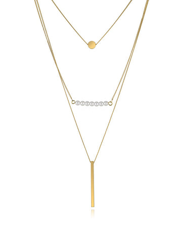 Golden Copper Layered Geometry Necklace