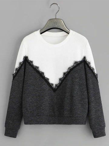 White-Black Contrast lace stitching Sweatshirt