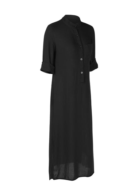 Plunging Neck Slit Buttoned Solid Casual Long Sleeve Dress