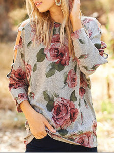 Floral 3/4 Sleeve Cotton T-Shirts
