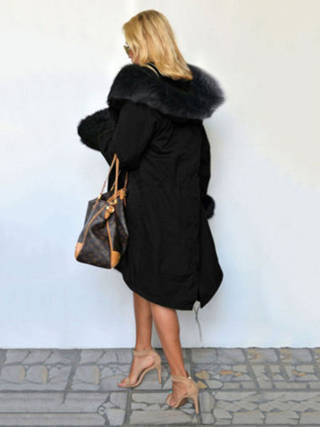 Casual Faux Fur Plain Winter Coat