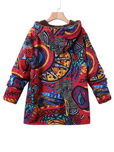 Long Sleeve Buttoned Abstract Shift Coat