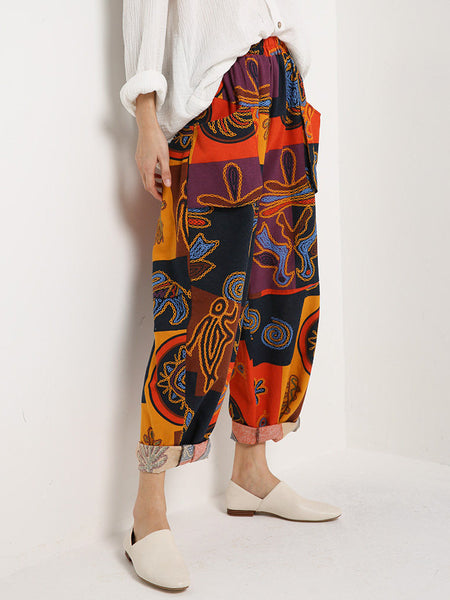 Red Pockets Tribal Vintage Clothing Printed Pants