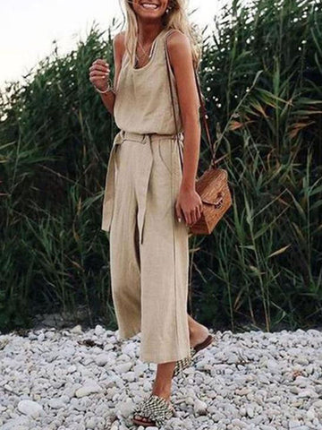 Sleeveless V Neck Casual Straps Jumpsuit