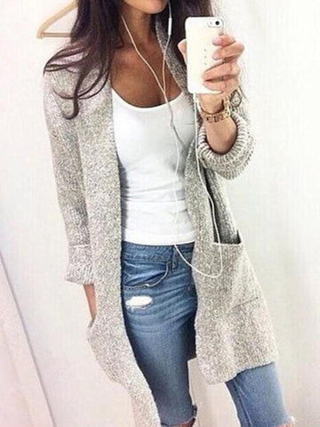 Gray Knitted Pockets Long Sleeve Cardigan