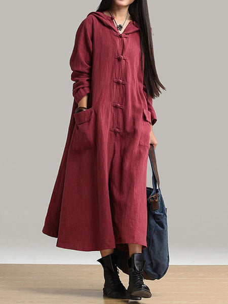 Daily Shift Hoodie Casual Buttoned Long Sleeve Dress