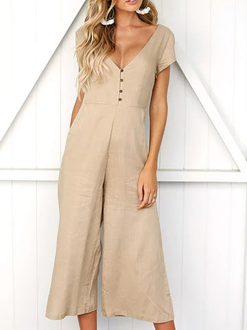 2019 SummerV-Neck Solid Basic Short Sleeve Pockets Casual Jumpsuits