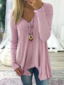 V Neck Solid Casual  Long Sleeve Sweaters