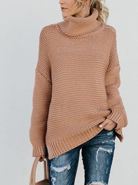 Long Sleeve Turtle Neck Acrylic Casual Sweaters