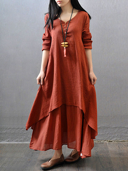 Daily Asymmetrical V Neck Buttoned Casual Tiered Dress