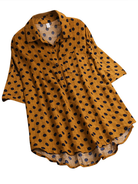 Polka Dot Printed Half Sleeve Blouse
