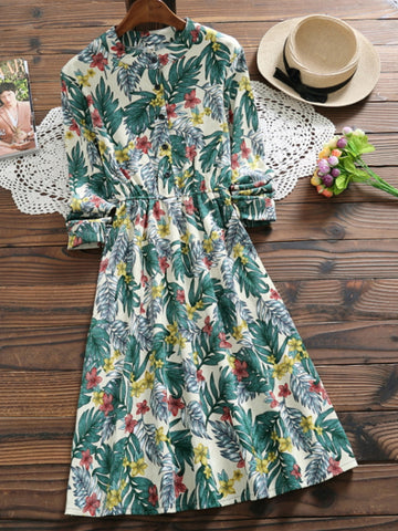 Green Floral Long Sleeve A Line Dress