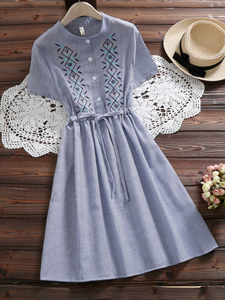 Women Embroidery A-Line Daily Casual Buttoned Striped Dress