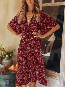 Casual V Neck Polka Dots Dress