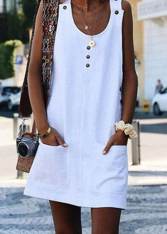 White Crew Neck Buttoned Cotton-Blend Sleeveless Dress