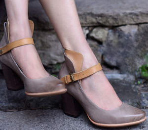 Taupe Chunky Heel Round Toe Vintage Shoes