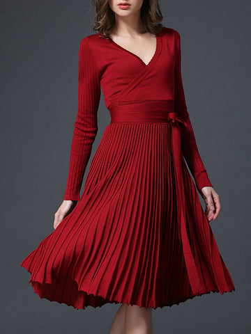 A-Line Pleated Long Sleeve Knitted Dress