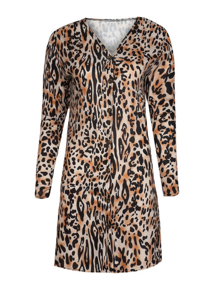 Leopard Print Casual Knitted Shift Coat