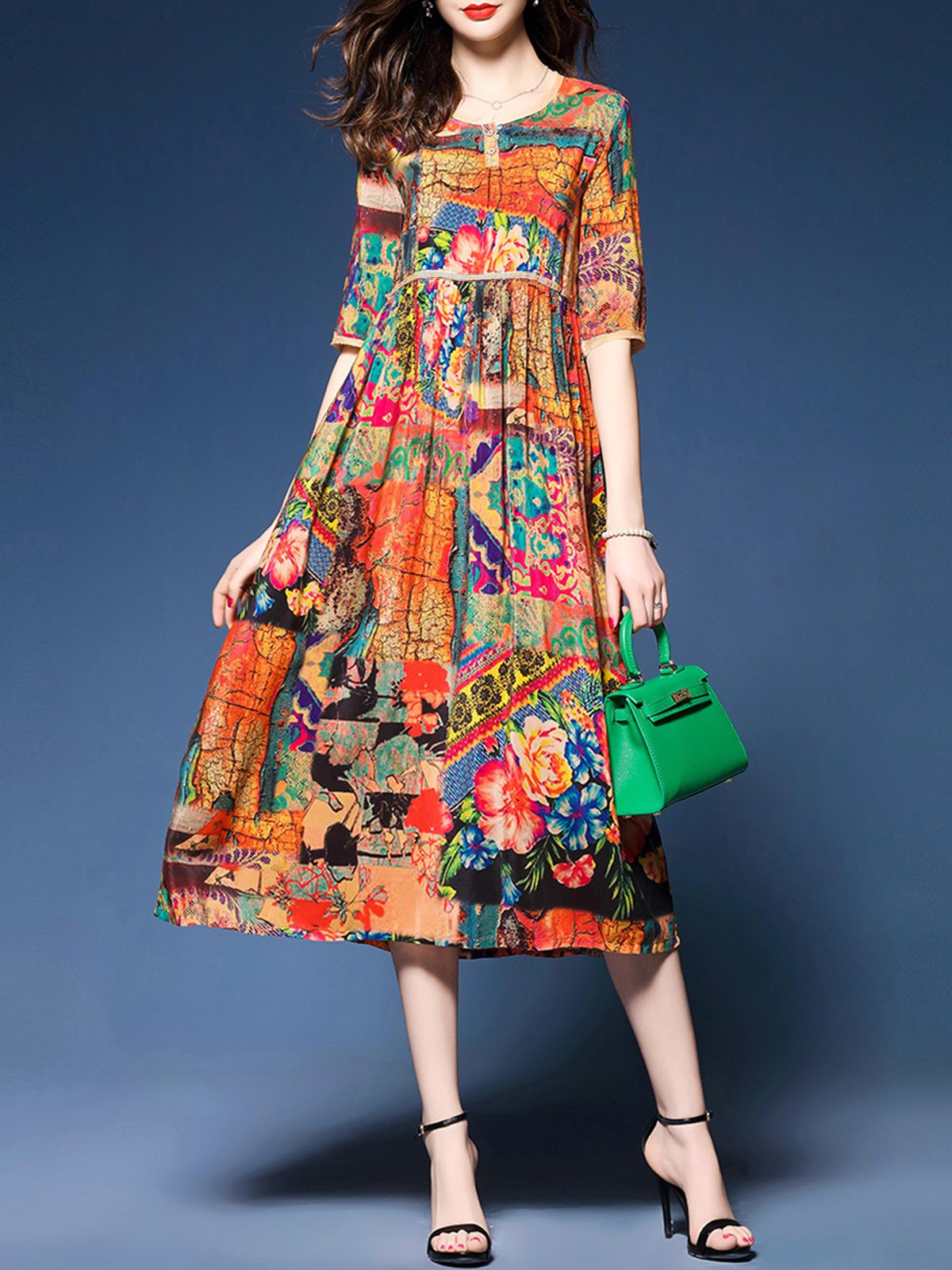 Buttoned Half Sleeve Casual Printed Dress