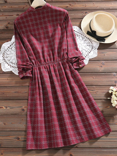Crew Neck Sweet Long Sleeve Cotton Dress