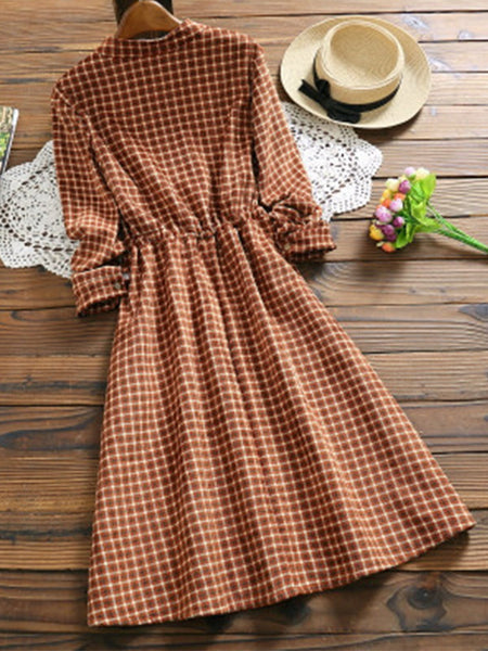 Plaid Crew Neck A-Line Dress