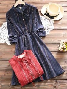 Bow Neck Sweet Long Sleeve Dress
