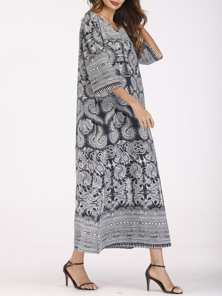 Daily Shift Crew Neck Printed Casual Shift Long Sleeve Dress