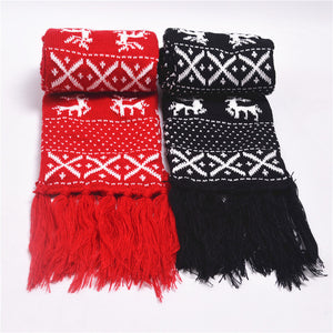 Warm scarf knit fawn wool double sided Christmas