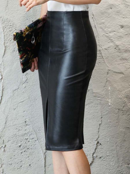 High quality black hip skirt