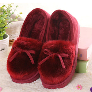 Daily Bowknot Winter Closed Toe Flat shoes