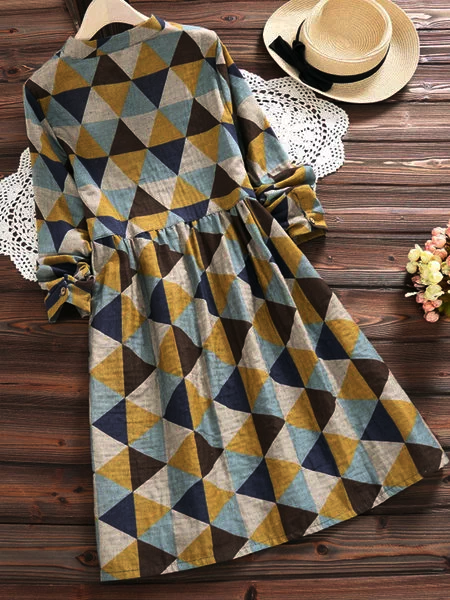 Geometric Printed  Long Sleeve Crew Neck Dress