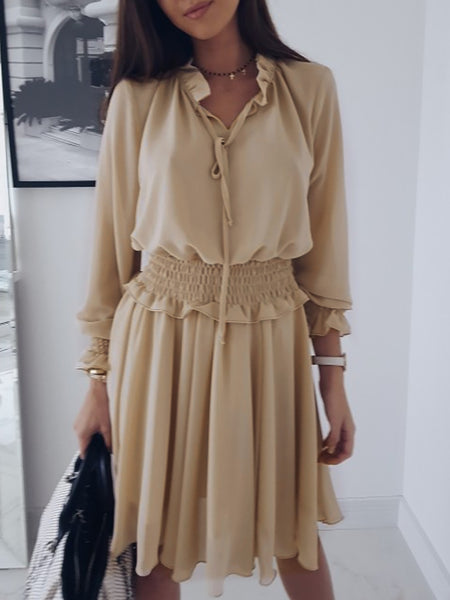 Swing V Neck Shirred Frill Sleeve Dress