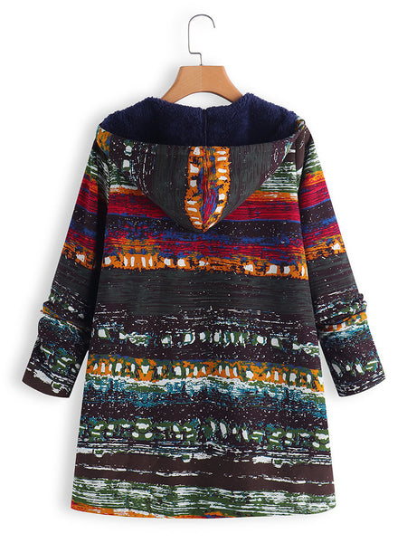 Abstract Hoodie Long Sleeve Printed Coat