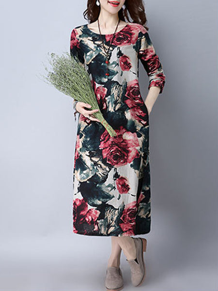 Long Sleeve Casual Dresses Daytime Shift Crew Neck Casual Printed Dress