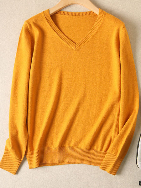 Solid Long Sleeve Casual V Neck Shift Knitted Sweater