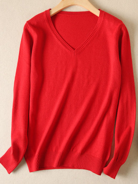 Solid Long Sleeve Casual V Neck Shift  Sweater