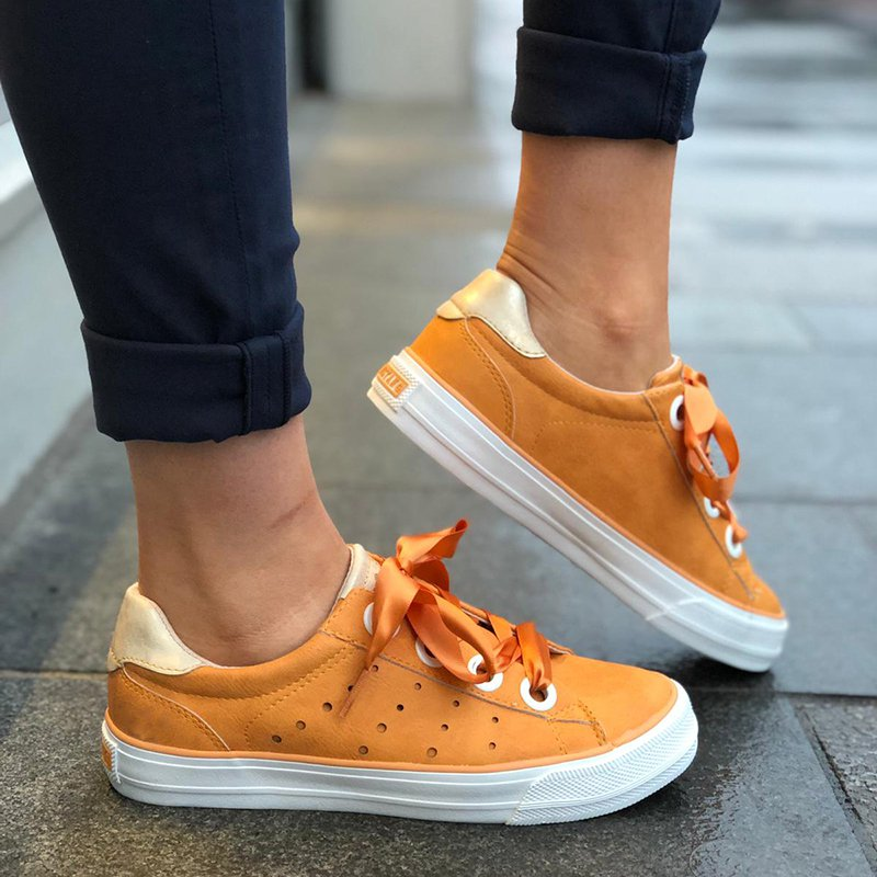 a5fd9aad95915 Abelleday Solid Color Casual Lace-up Women PU Fashion Sneakers ...