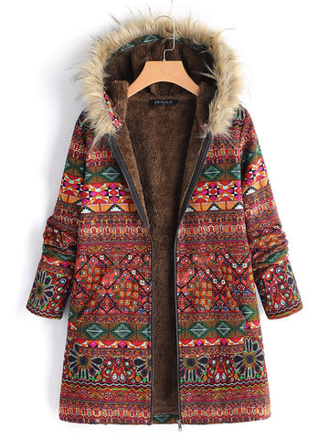 Autumn Winter Flower Hooded Coat