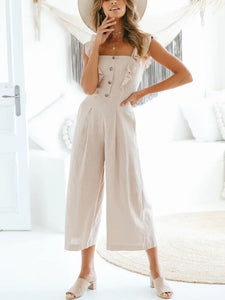 2019 Summer Apricot Casual Sleeveless Solid Jumpsuits